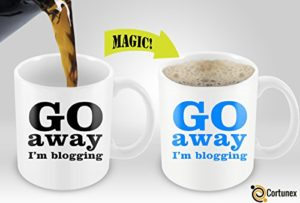 Magic Coffee Mugs Heat Sensitive Color Changing Coffee Mug Good Gift Mug For Bloggers Go Away i'm blogging Magic Mug 11oz